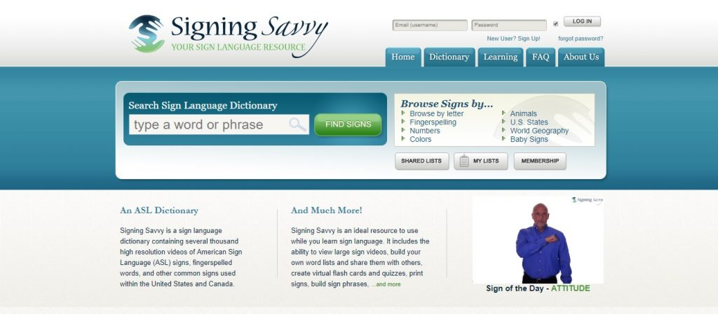 Signing Savvy ASL dictionary americain sign language